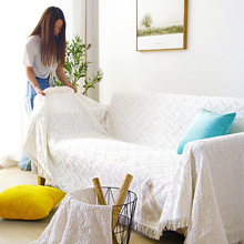 Modern Simple Bed Sofa Cover Solid Nordic Plaid Couch Cover Towel Living Room Home Decor Seat Anti-dust Throw Blanket Cloth