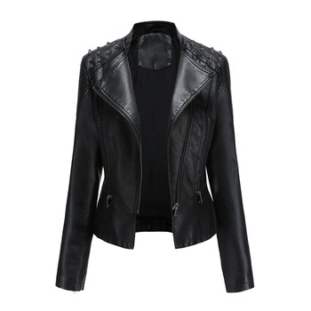 NXH Rivet  Moto & Biker faux leather jacket women Turn-down Collar black pink punk  gothic  pu coat women floral print embroidery faux soft leather jacket coat turn down collar casual pu motorcycle black punk outerwear zogaa