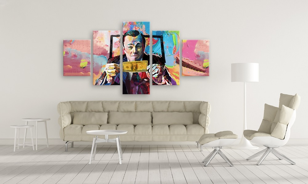 Graffiti Wall Art Canvas <font><b>Paintings</b></font> movie The Wolf of Wall Street <font><b>Leonardo</b></font> <font><b>DiCaprio</b></font> Posters 5 pieces Print Living Room Home Decor image