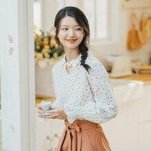 INMAN 2020 bahar yeni varış edebi şeker renkli nokta deseni dönüş aşağı yaka parlama kollu kadın bluz gömlek