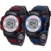 Водонепроницаемый для маленьких мальчиков Многофункциональный мальчик цифровой светодиодный спортивные Водонепроницаемый детские наручные часы будильник Дата электронные часы подарок Q