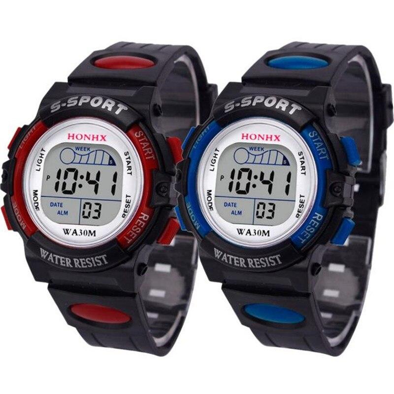 2019 Waterproof Children Boy Multifunction Boy Digital LED Sports Waterproof Wrist Watch Kids Alarm Date Electronic Watch Gift Q