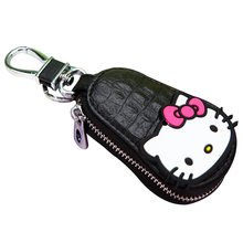 Fashion Black Cartoon Hello Kitty Keychain Exquisite Leather Zipper Wallet Keychain Woman Girl Handbag Wallet Pendant Jewelry(China)