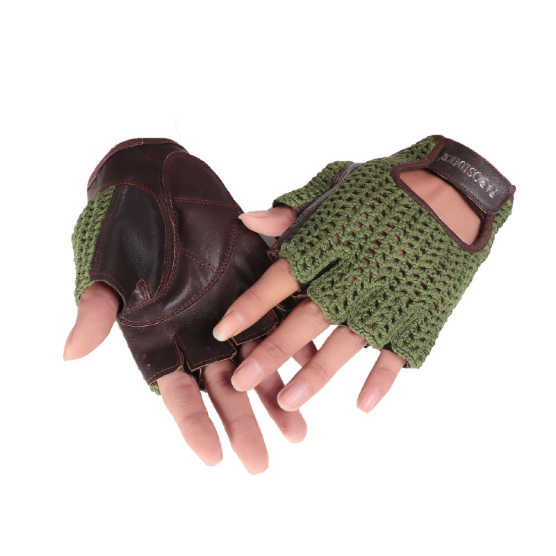 2020 Latest Half Finger Gloves Male Spring Summer Breathable Non-Slip Fitness Driving Leather Semi-Finger Man's Gloves A1366
