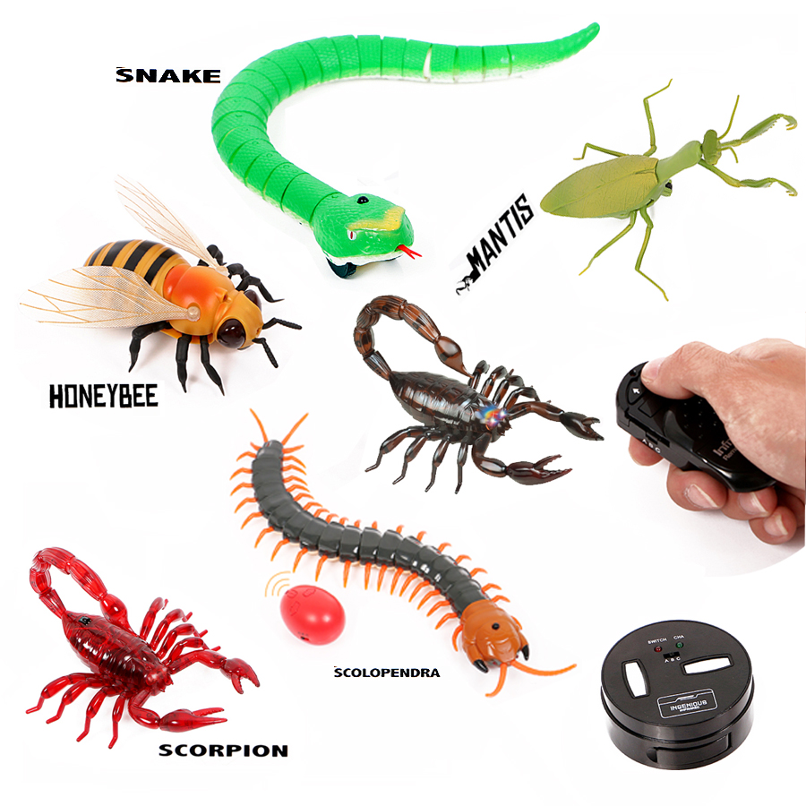 Infrared Remote Control Animal Insect Toys Simulation Snake Bee,Electronic Robot Toy For Cat Dog, Halloween Prank Funny Toys