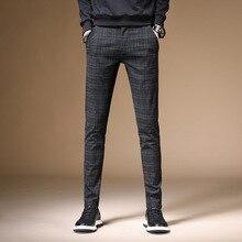 Leisure Pants Male Trousers Plaid Cotton-Blend Black Straight Men's Autumn Youth Pencil