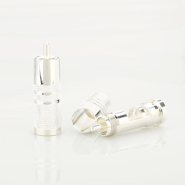 4Pieces High Quality Caradas style Silver Plated RCA Male Plug HIFI DIY AUDIO RCA Connector