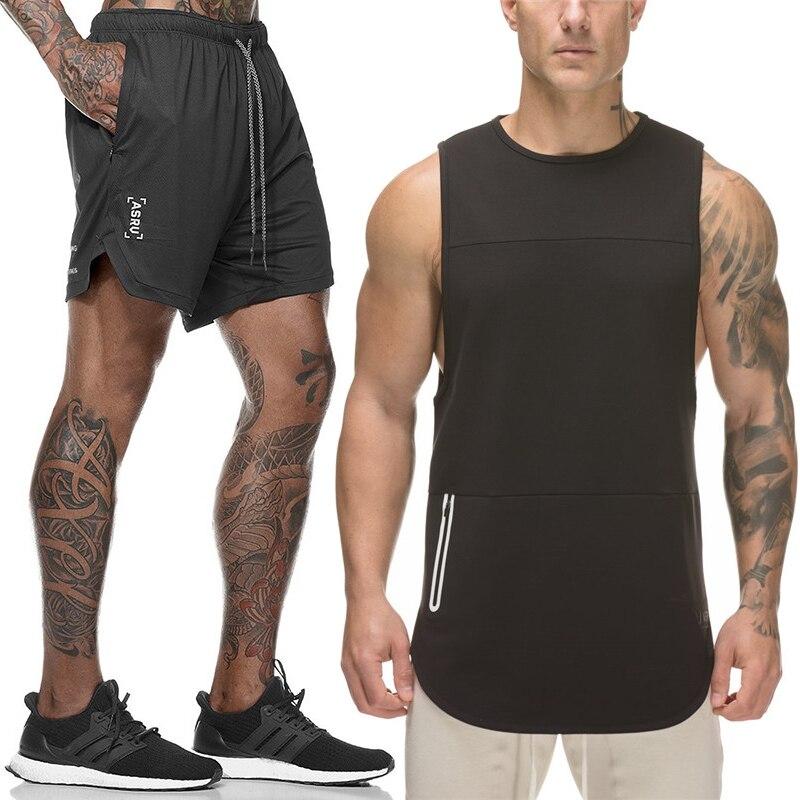 Men Suit Tracksuit-Sets Shorts Male Brand Tank Gyms