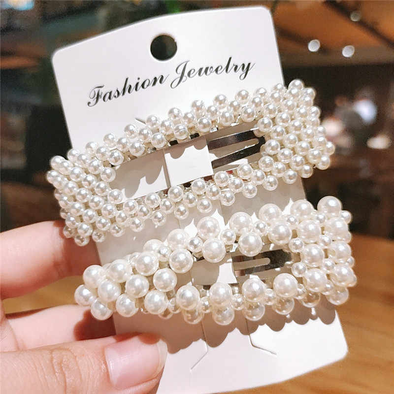 2019 New Korea Style Pearl Hair Clip for Women Girls Barrette Stick Headwear Elegant Wedding Hairpins Hair Accessories