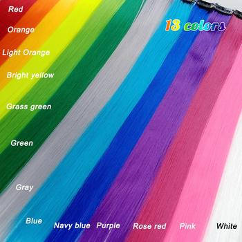 10 stks/partij Synthetische Lange Enkele Clip In Een Stuk Hair Extensions 50cm Rainbow Kleur Straight Haarstukje Voor vrouwen - discount item  50% OFF Synthetic Hair