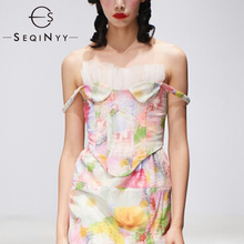 SEQINYY Women Crop Top 2020 Summer Spring New Fashion Design Sexy Sleeveless Mesh Ruffles Print Flowers Short Top