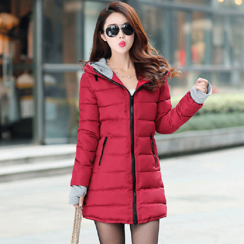 Korea Fashion Women Winter Jackets Hooded Slim Cotton Padded Female Long Coat Winter Warm Thicken Casual   Parkas   Plus Size D247