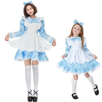 Lolita Parent child Princess Dress Sweet Cute Girls Princess Maid Vintage Gothic Printed Princess Dress Sisters Dresses
