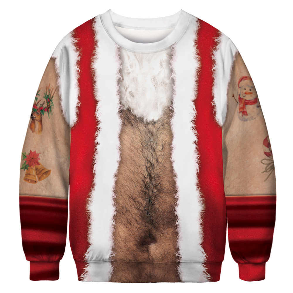 Ugly Christmas Sweater Santa Claus Print Loose Fake chest hair Men Women Pullover Xmas sweaters Novelty Autumn Winter Top Clothi