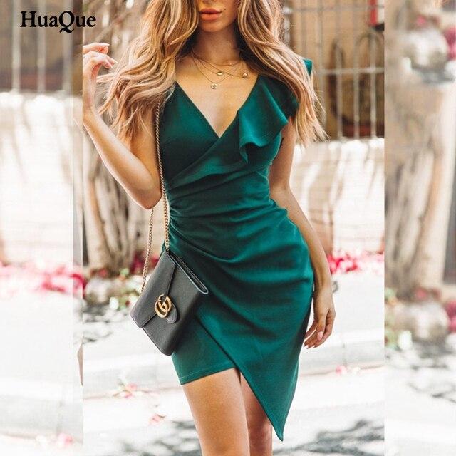 Female banquet dress 2021 sexy solid color v-neck ruffled skinny dress summer fashion elegant high-end club summer dress 1