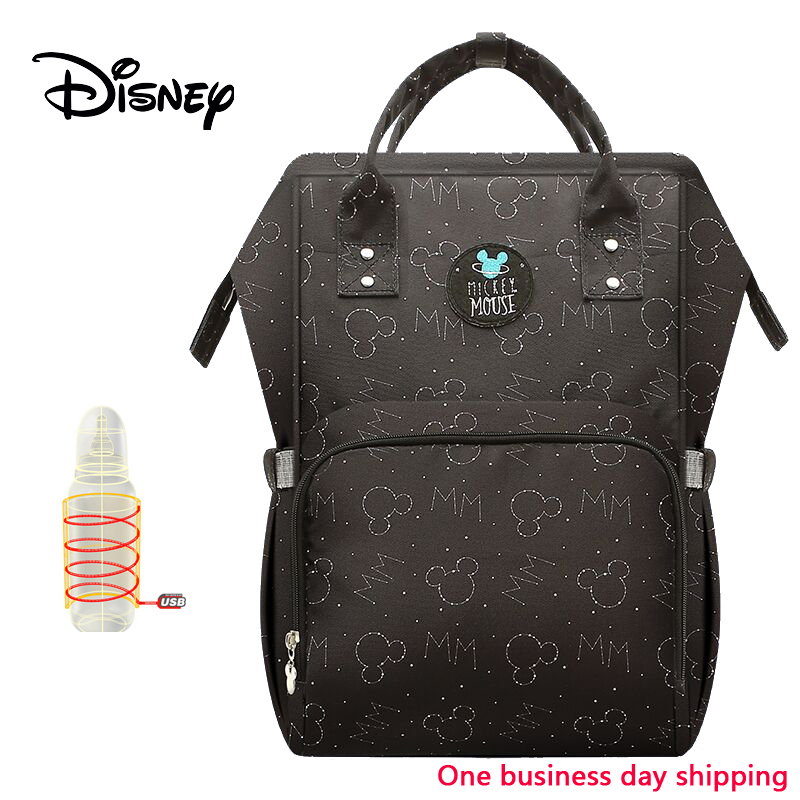 Disney Baby Backpack Diaper Mom Bag Large Capacity USB Heating Insulation Mummy Travel Wet Nappy Boy Diaper Organizer Storage
