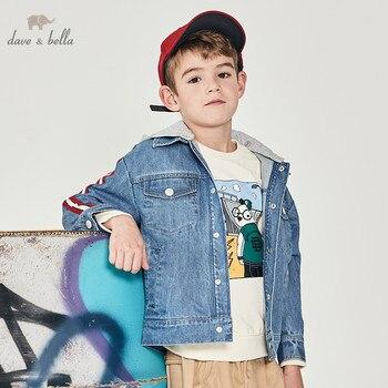 DBK12282 dave bella spring baby boys hooded denim jacket children fashion outerwear kids coat
