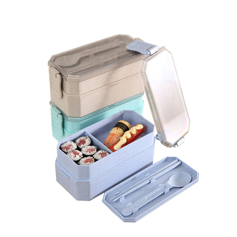Portable Bento <font><b>Lunch</b></font> <font><b>Box</b></font> <font><b>Food</b></font> <font><b>Container</b></font> <font><b>Food</b></font> Grade PP+Wheat Straw Microwavable With Spoon Chopsticks Leak-proof Eco-Friendly image
