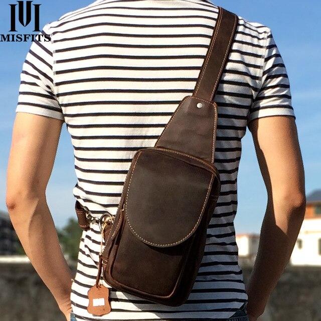 MISFITS 2019 new genuine leather messenger bag mens casual chest packs luxury brand crossbody bag cowhide shoulder bag for male
