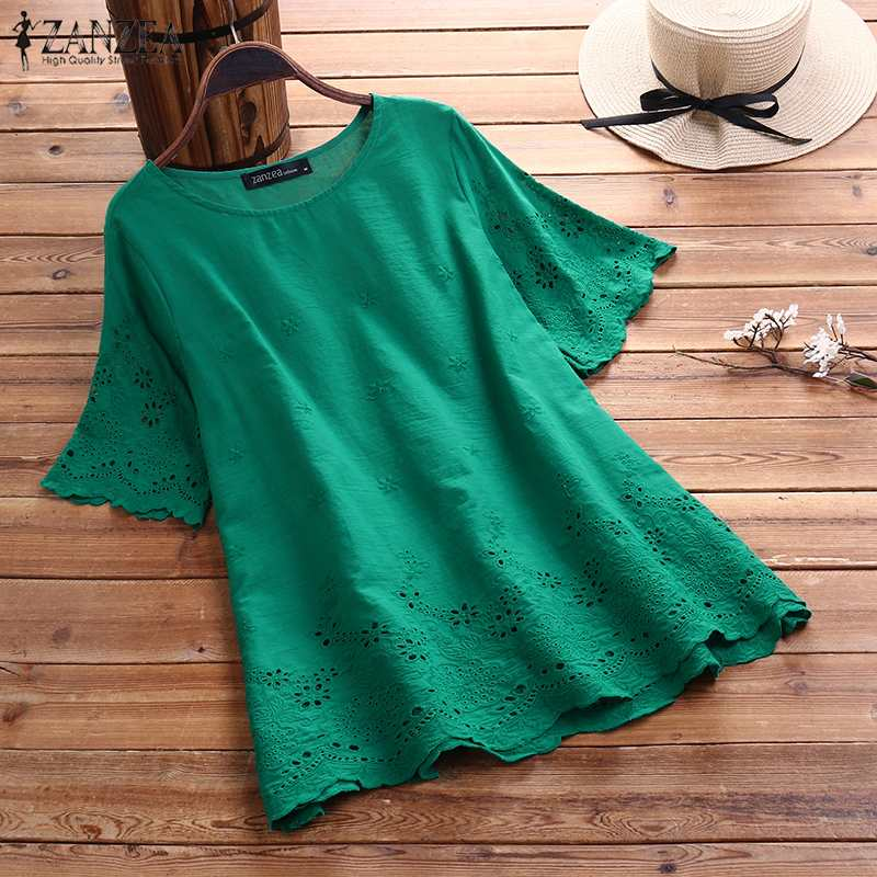 Plus Size Tunic Women's Embroidered Blouse Fashion Casual Hollow Chemise 2020 ZANZEA Female Short Sleeve Shirts Blusas Solid Top