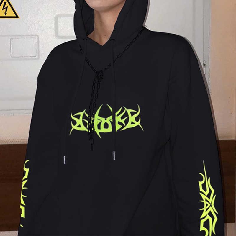 Czarne, ponadgabarytowe bluzy damskie neonowy nadruk z kapturem damskie bluzy z kapturem luźne swetry 2020 wiosna Gothic Streetwear bluza z kapturem bluzki damskie