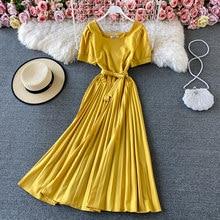 Élégant Midi rétro robe a-ligne femmes nouvelle couleur unie col en v à lacets taille mince manches bouffantes robe plissée bureau dame vestido