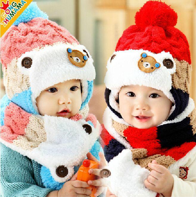 Winter Baby Bear Modeling Hat  Kids Beanies Korea Bear Kid Boys Knit Hats Winter 2 Pcs Fur Baby Girls Winter Hat And Scarf