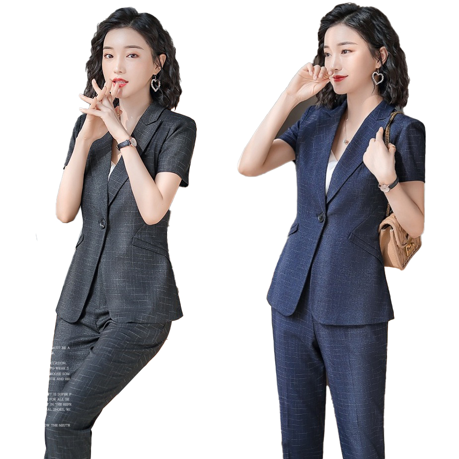 Female Elegant Formal Office Work Wear Ladies Pant Suits for Women Business Blazer and Jacket Set Summer Uniform Designs Styles