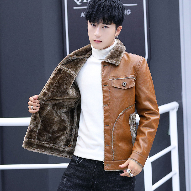 2020 new men's cultivate one's morality winter motorcycle leather jackets youth add hair thickening fashion leisure leather 8XL 25