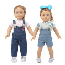 18 Inch American Doll Clothes High-quality Denim Outfit Set T-shirt+Bib Pants Suit FIt 43cm Baby 17inch Childs Gift