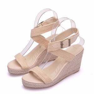 Image 5 - Sandalias de verano con plataforma y punta redonda para mujer, calzado informal con cuña y punta redonda