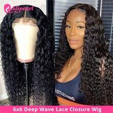 Кудрявые Парики из натуральных волос на шнурках, 6x6, бразильские парики на шнурках для черных женщин, предварительно выщипанные 150 180 густоты...