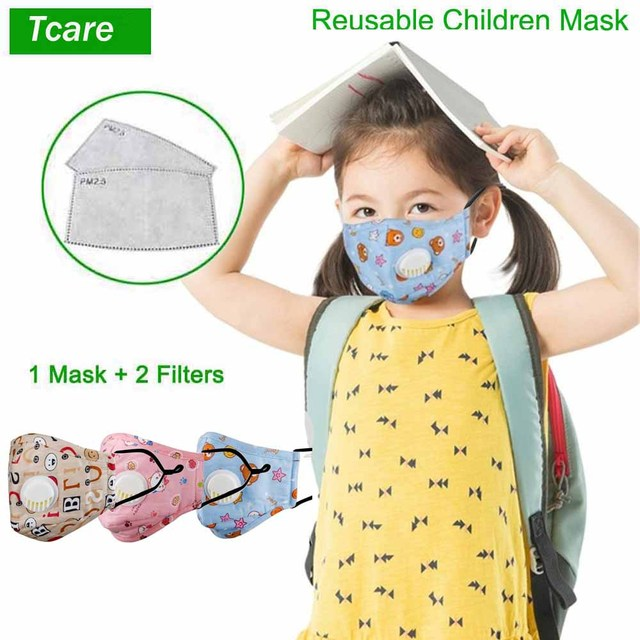 Tcare Reusable Kids Children Mask with 2 Filters Mouth Mask Haze Dust Pm 2.5 Face Mask Breathable Valves Kids Mask