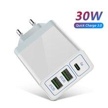 3 usb carregador rápido 30w suporte carga rápida 3.0 carregador de telefone portátil usb c pd carregador qc 3.0 para iphone 12 pro xiaomi huawei