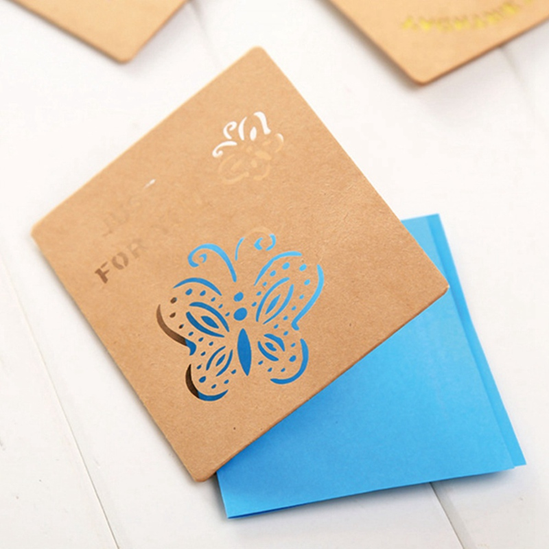 2 Pcs Forest Style Postcard Kraft Paper Christmas Openwork Greeting Card Birthday Holidays Mother 's Day Teacher 's Day Supplies