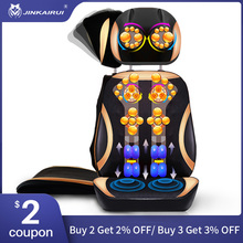JinKaiRui Electric Neck Back Body Household Massager Vibrate Cervical Malaxation Device Infrared heating Massage Pillow Chair wholesale healthy electric full body massager heating massage chair therapy machine as seen on tv