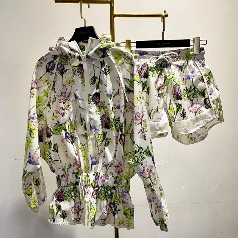 2020 Flower Pattern Shorts Set Waist Thin Rainproof Silk Coat + Shorts 2 Piece Set