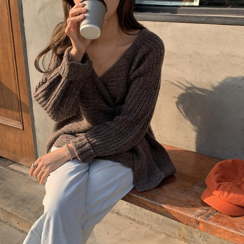 SuperAen Fashion Sweater Coat Female Korean Style New 19 Autumn and Winter Wild Ladies Sweaters Solid Color Women Knit Tops 17