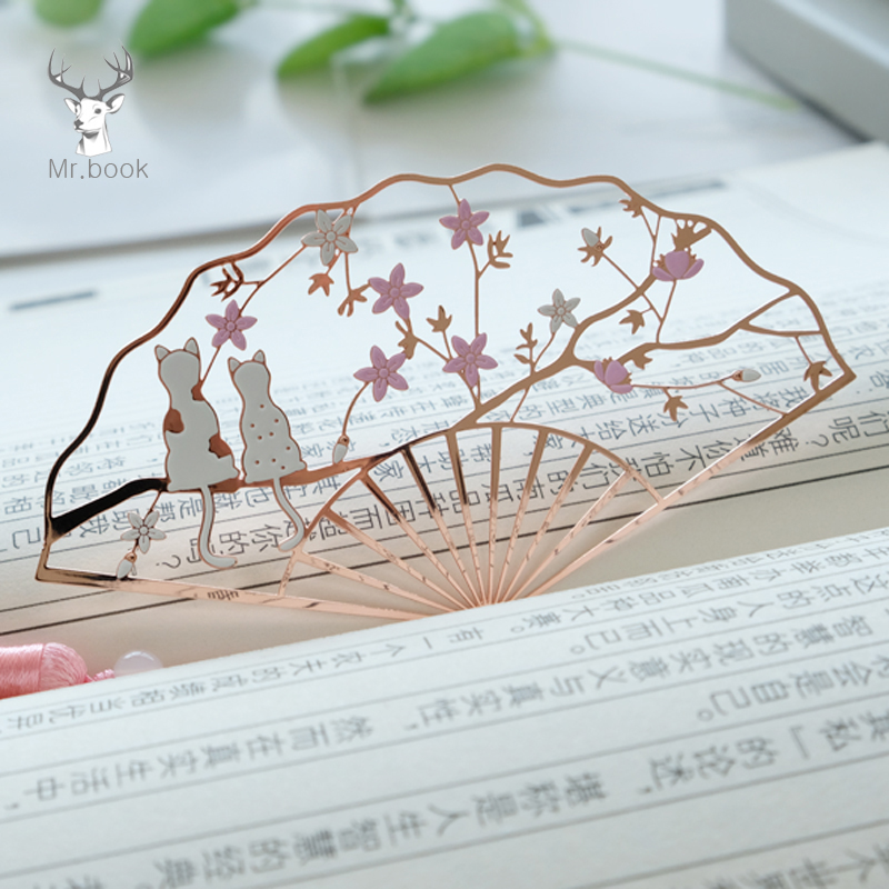 Vintage Rose Gold Folding Fan Bookmarks Metal Lover Cat Tassel Bookmark Stationery Book Clip Office Accessories School Supplies