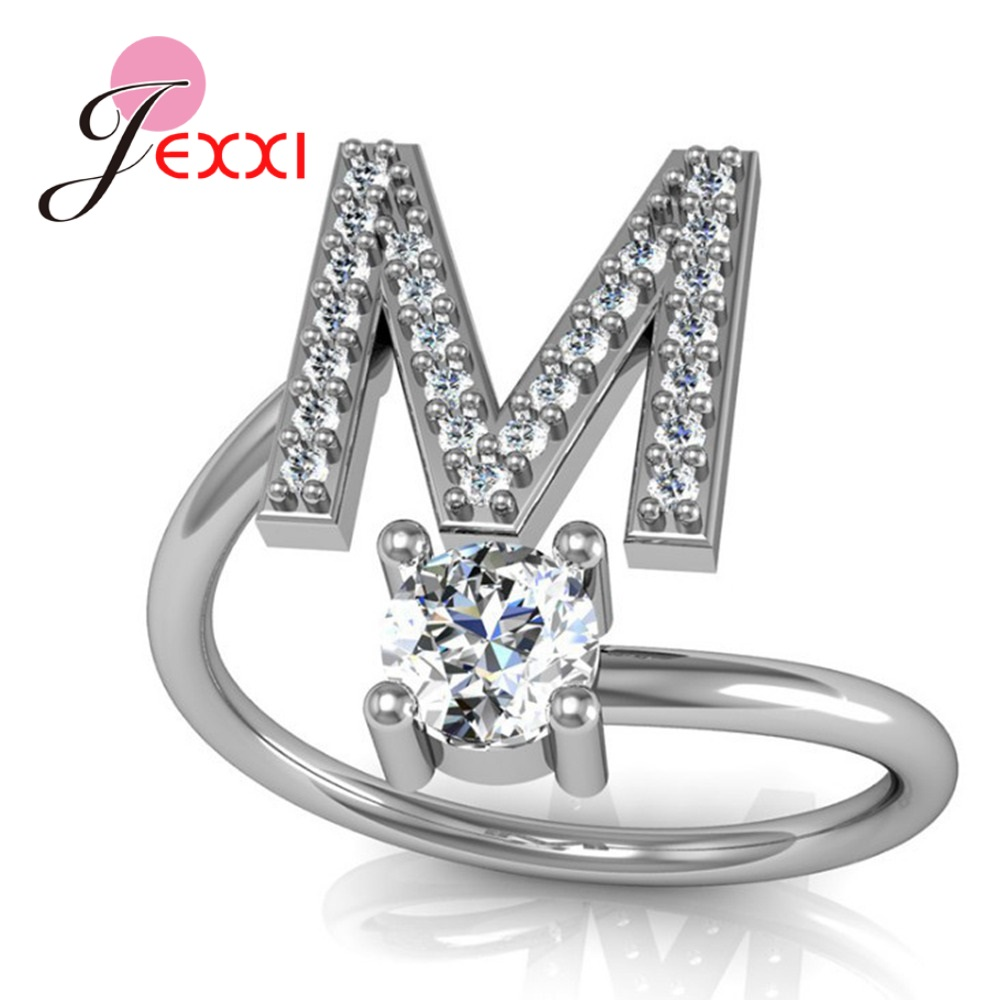 Hot Sale 925 Silver Ring Creative A To Z Initial 26 Letters CZ Crystal Paved Setting Name Jewelry for Women Men Drop Shipping