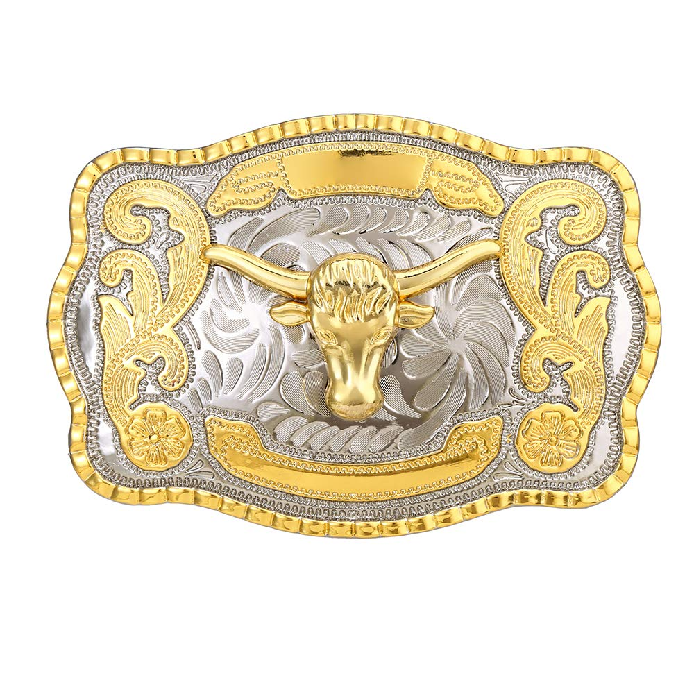 Biger Gold Silver Rectangle Texas Long Horn Bull Head   Buckle For Man Western Cowboy Buckle Without Belt Custom Alloy Width 4cm