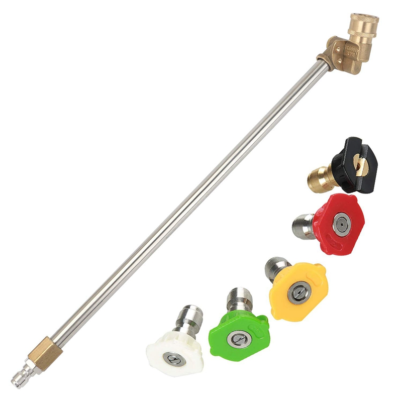 Pressure Washer Wand With Adjustable Angle Nozzle, 16 In Ch Spray Lance 180 Degree With 5 Angles Quick Connect Pivot Adapter C