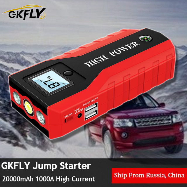 GKFLY Emergency 20000mAh Car Jump Starter 12V 1000A Starting Device Power Bank Petrol Diesel Car Charger For Car Battery Booster