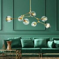 Современная кристаллическая стеклянная люстра, потолочный кулон, гостиная, спальня, Подвесная лампа, шар, черный/золотой, Скандинавское осв...