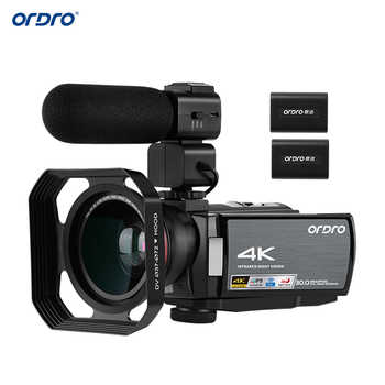 ORDRO HDV-AE8 4K 30MP 16X WiFi cámara de vídeo Digital 3 pulgadas IPS pantalla táctil videocámara 0.39X lente gran angular micrófono externo + Len Hood