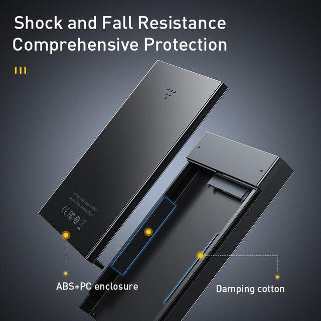 Baseus HDD kasa 2.5 SATA USB 3.0 adaptör sabit Disk kutusu HDD muhafaza SSD kasa tipi C 3.1 HDD kutusu HD harici HDD kutusu