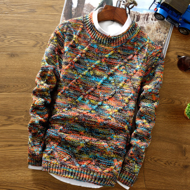 Zogaa Sweater Men Fashion Multi-color Patchwork Stripe Pullover Sweater Male O-Neck Slim Fit Knitted Christmas Men Sueter Jumper