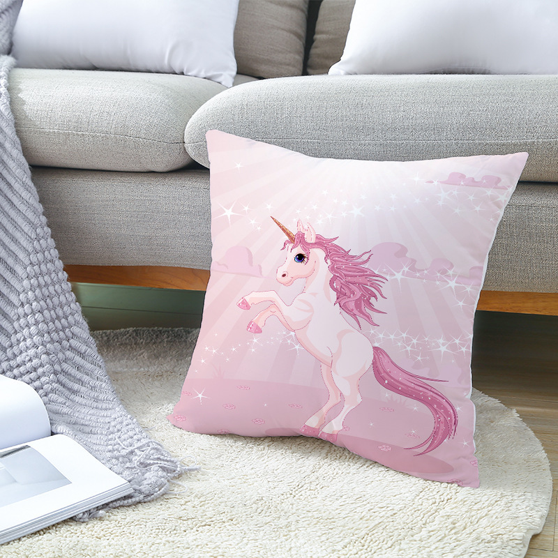 Cartoon Purple Unicorn Home Decorative Pillows Cover For Sofa Animal Printing Polyester Cushion Cover Pink Horse Pillow Case in Cushion Cover from Home Garden