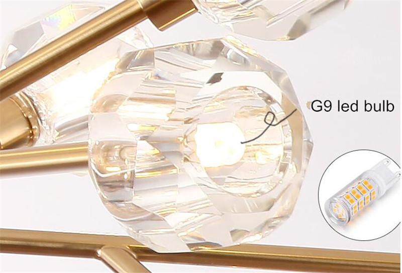 H4ce7737ddb314d8d8c63b9d6903bde70e Flush Mount Ceiling Light | Ceiling Lamp | New crystal ball ceiling Lighting Gold branch design lustres ceiling lamp for living dining room cristal lighting fixtures Voltage 85-265V