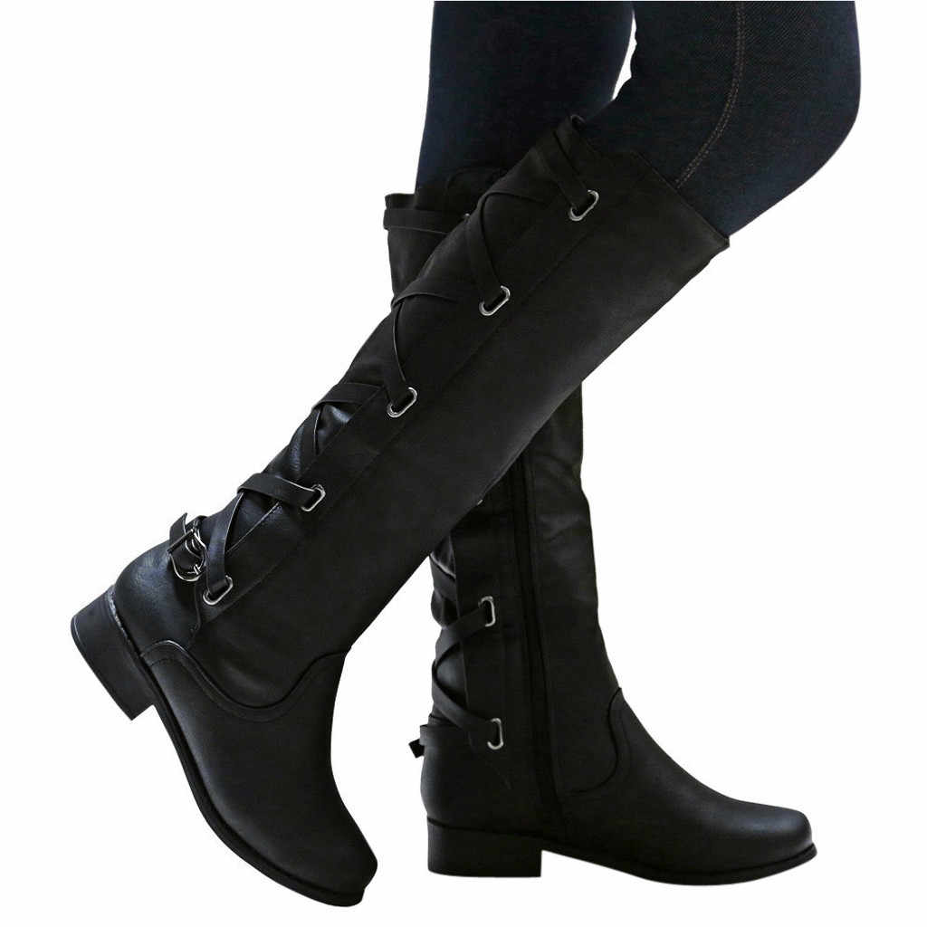 New Women's Boots Winter Cross Strap Long Snow Knee High Bootie Cowboy Warm Shoes  Leather Fashion Ladies Boots Shoes